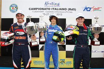 Campioni 2013: Alessandro Giulietti (KZ2), Alessio Lorandi (KF3), Julien Darras (KF2), CAMPIONATO ITALIANO ACI KARTING