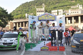 Podium: Paolo Andreucci, Anna Andreussi (Peugeot 207 S2000 #1, Racing Lions) (race winner), Umberto Scandola, Guido D'Amore (Skoda Fabia S2000 #2, Car Racing) (2nd position) and Stefano Albertini, Simone Scattolin (Peugeot 207 S2000 #5, Racing Lions) (3rd position), CAMPIONATO ITALIANO RALLY SPARCO