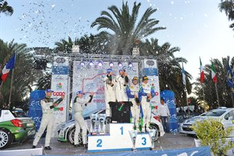 Podium: Giandomenico Basso, Mitia Dotta (Peugeot 207 #2, Movisport), race winner, Esapekka Lappi, Janne Ferm (Skoda Fabia S2000 #6, Skoda Motorsport), 2nd position and, Alessandro Perico, Fabrizio Carrara (Peugeot 207 S2000 #10, Pa Racing Srl), 3rd position, CAMPIONATO ITALIANO RALLY SPARCO