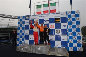 Podio gara 2 B3.6, Paolo Meloni (W&D Racing Team, BMW M3 E46 B 3.6 #32), Walter Meloni (W&D Racing Team, BMW M3 E46 B 3.6 #31), Pierluigi Scarpellini (Monza Racing, BMW E36 B 3.6 #33), TCR ITALY TOURING CAR CHAMPIONSHIP