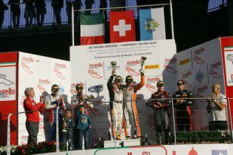 Gara 1 podio S.GT3, Venturi Gai (Black Bull Swisse Racing, Ferrari 488 S.GT3 #46), Frassineti Gattuso (Ombra Srl,Lamborghini Huracan GT3 #12), Mapelli Vanthoor (Audi Sport Italia, Audi R8 LMS GT3 #8) , ITALIAN GRAN TURISMO CHAMPIONSHIP
