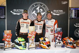 Pedro Hiltbrand campione CIK FIA KZ2 International Super Cup, fra Benjamin Tornqvist e Fabian Federer (a destra), CAMPIONATO ITALIANO ACI KARTING