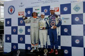 Podio TCR gara 1, Aku Pellinen (Honda Civic TCR #6), Enrico Bettera  (Pit Lane,Seat Leon SEQ. TCR #41), Luigi Ferrara (Top Run,Subaru STI TCR #16) , TCR ITALY TOURING CAR CHAMPIONSHIP