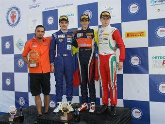 Podio gara 2, Sebastian Wahbeh Fernandez (Kfzteile24 Mucke Motorsport,Tatuus F.4 T014 Abarth #7), Raul Guzman Marchina (DR Formula,Tatuus F.4 T014 Abarth #41), Juri Vips (Prema Power Team,Tatuus F.4 T014 Abarth #44)         , ITALIAN F.4 CHAMPIONSHIP POWERED BY ABARTH
