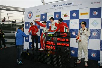 Podio gara 3, Juri Vips (Prema Power Team,Tatuus F.4 T014 Abarth #44), Mick Schumacher (Prema Power Team,Tatuus F.4 T014 Abarth #5), Ian Rodriguez Wright (DRZ Benelli,Tatuus F.4 T014 Abarth #45)       , ITALIAN F.4 CHAMPIONSHIP POWERED BY ABARTH