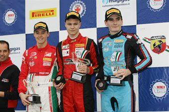 Podio gara 1, Artem Petrov (DR Formula,Tatuus F.4 T014 Abarth #42), Marcus Armstrong (Prema Power Team,Tatuus F.4 T014 Abarth #9), Job Van Uitert  (Jenzer Motorsport,Tatuus F.4 T014 Abarth #16)           , ITALIAN F.4 CHAMPIONSHIP POWERED BY ABARTH