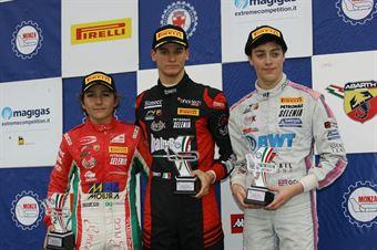 Podio Rokkie gara 1, Leonardo Lorandi (Baithech Srl ,Tatuus F.4 T014 Abarth #11), Enzo Fittipaldi (Prema Power Team,Tatuus F.4 T014 Abarth #74), Olli Caldwell (BWT Mucke Motorsport,Tatuus F.4 T014 Abarth #64)            , ITALIAN F.4 CHAMPIONSHIP POWERED BY ABARTH