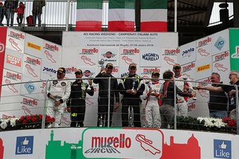 Gara 1 podio GTCup, Pisani Sauto (Porsche 997 Cup My 12 GTCup #176, Nicolosi La Mazza  (Ebimotors,Porsche 991 GT3#169) , CAMPIONATO ITALIANO GRAN TURISMO