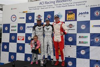 Podio TCR DSG, Matteo Greco ( Cupra Leon TCR SEQ #34), Massimiliano Gagliano (Cupra Leon TCR DSG #7), Alessandro Thellung (Seat Leon Racer TCR DSG ##23) , TCR ITALY TOURING CAR CHAMPIONSHIP