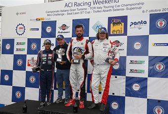 Podio TCR gara 1,Luigi Ferrara (42 Racing SA, Alfa Romeo Giulietta TCR #42), Eric Scalvini (BRC Racing Team,Hyundai i30 N TCR #19), Enrico Bettera (Pit lane Competizioni,Audi RS3 LMS TCR #69) , TCR ITALY TOURING CAR CHAMPIONSHIP