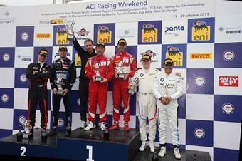 Podio gara 1 Abe Colombo (AF Corse,Ferrari 488 GT3 AM #71)Veglia Crestani (Easy Race,Ferrari 488 Evo  GT3 PRO #3)Comandini Johansson (BMW Team Italia,BMW M6 GT3 PRO #15), CAMPIONATO ITALIANO GRAN TURISMO