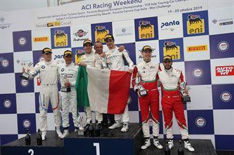 Podio gara 2 Rovera Agostini (Antonelli Motorsport,Mercedes AMG GT3 GT3 PRO AM #22)Comandini Johansson (BMW Team Italia,BMW M6 GT3 PRO #15)Fuoco Hudspeth (AF Corse,Ferrari 488 GT3 GT3 PRO AM #52), CAMPIONATO ITALIANO GRAN TURISMO
