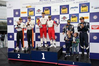 Podio gara 2 Fuoco Hudspeth (AF Corse,Ferrari 488 GT3 GT3 PRO AM #52)Di Amato Vezzoni (RS Racing SSD ARL,Ferrari 488 Evo GT3 PRO AM #25)Mann Cressoni (AF Corse, Ferrari 488 GT3 PRO AM #51), CAMPIONATO ITALIANO GRAN TURISMO