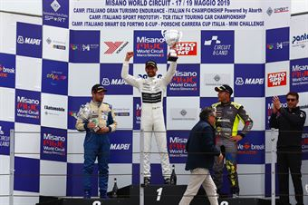 Podio gara 2 Riccardo Ponzio (SG Motors,Wolf GB08 Thunder #71) Giacomo Pollini (ASD Giacomo Race,Wolf GB08 Thunder #6) Mirko Zanardini (Lion Racing Team,Wolf GB08 Thunder #12), CAMPIONATO ITALIANO SPORT PROTOTIPI