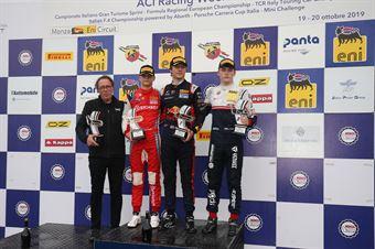 Podio gara 3 Dennis Hauger (Van Amersfoort Racing BV,Tatuus F.4 T014 Abarth #62)Paul Aron (Prema Powerteam,Tatuus F.4 T014 Abarth #7)Roman Stanek (US Racing,Tatuus F.4 T014 Abarth #97), ITALIAN F.4 CHAMPIONSHIP POWERED BY ABARTH