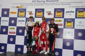 Podio Rookie gara 3 Paul Aron (Prema Powerteam,Tatuus F.4 T014 Abarth #7)Roman Stanek (US Racing,Tatuus F.4 T014 Abarth #97)Jonny Edgar (Jenzer Motorsport,Tatuus F.4 T014 Abarth #17), ITALIAN F.4 CHAMPIONSHIP POWERED BY ABARTH