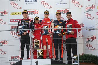Podio gara 1 Paul Aron (Prema Powerteam,Tatuus F.4 T014 Abarth #7)Lorenzo Ferrari (Antonelli Motorsport,Tatuus F.4 T014 Abarth #36)Jonny Edgar (Jenzer Motorsport,Tatuus F.4 T014 Abarth #17) al Amna Al Qubaisi (Abu Dhabi Racing,Tatuus F.4 T014 Abarth #88), ITALIAN F.4 CHAMPIONSHIP POWERED BY ABARTH