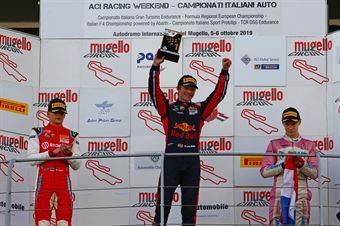 Podio Gara 3,Dennis Hauger (Van Amersfoort Racing BV,Tatuus F.4 T014 Abarth #62)Paul Aron (Prema Powerteam,Tatuus F.4 T014 Abarth #7)Joshua Durksen (BWT Mucke Motorsport,Tatuus F.4 T014 Abarth #26), ITALIAN F.4 CHAMPIONSHIP POWERED BY ABARTH