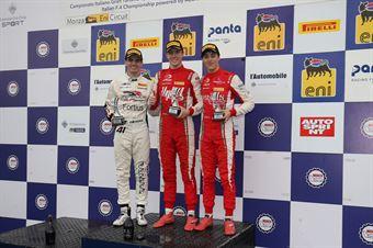 Podio Rookie gara 1, Frederik Vesti  (Prema Powerteam,F3 Tatuus 318 A.R. #2)Raul Guzman (DR Formula,F3 Tatuus 318 A.R. #41)Olli Caldwell (Prema Powerteam,F3 Tatuus 318 A.R. #64), FORMULA REGIONAL EUROPEAN CHAMPIONSHIP