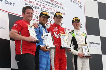 Podio gara 1, Frederik Vesti  (Prema Powerteam,F3 Tatuus 318 A.R. #2) Igor Fraga (DR Formula,F3 Tatuus 318 A.R. #17) David Schumacher (US Racing,F3 Tatuus 318 A.R.#27), FORMULA REGIONAL EUROPEAN CHAMPIONSHIP