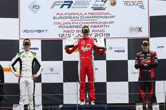Podio gara 2, Frederik Vesti  (Prema Powerteam,F3 Tatuus 318 A.R. #2) David Schumacher (US Racing,F3 Tatuus 318 A.R.#27) Konsta Lappalainen (Kic Motorsport,F3 Tatuus 318 A.R. #10), FORMULA REGIONAL EUROPEAN CHAMPIONSHIP