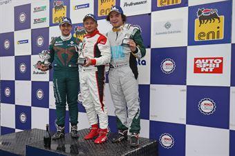 Gara 1 podio TCR DSG Nicola Guida (Scuderia del Girasole,Audi RS3 LMS TCR DSG #21)2Eric Scalvini (Sc. del Girasole   Cupra Racing,Cupra TCR DSG #19)Jody Simone Vullo (BD Racing,Cupra TCR DSG #28), TCR ITALY TOURING CAR CHAMPIONSHIP