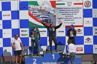 Podio gara 1 Massimiliano Mugelli (PRS Group,Alfa Romeo Giulietta QV TCR #3) Matteo Greco (Sc. del Girasole   Cupra Racing,Cupra TCR SEQ #34) Jacopo Guidetti (BF Motorsport,Audi RS3 LMS SEQ TCR DSG#71), TCR ITALY TOURING CAR CHAMPIONSHIP