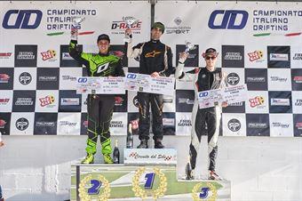 Premiazione classifica finale cat PRO 2: 1. Julien Besson 2. Riccardo Tonali 3. Samuele Milani, CAMPIONATO ITALIANO DRIFTING