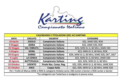 Aci Csai Calendario 2021 CAMPIONATO ITALIANO ACI KARTING   Definito il Campionato Italiano